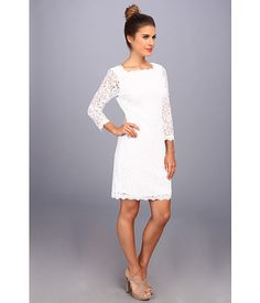Adrianna Papell 3/4 Sleeve Lace Dress White - Zappos.com Free Shipping BOTH Ways