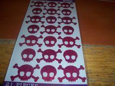Red Glitter Skull & Bones Stickers
