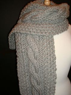 Long and Chunky, Knitted in  Grey Heather  Cable Scarf, Thick and extra warm, wool by Bernat, for Men or Women via Etsy