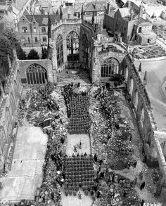 Wounded U.S. soldiers attending Mother's Day service in a destroyed Coventry Cathedral, UK, 1945