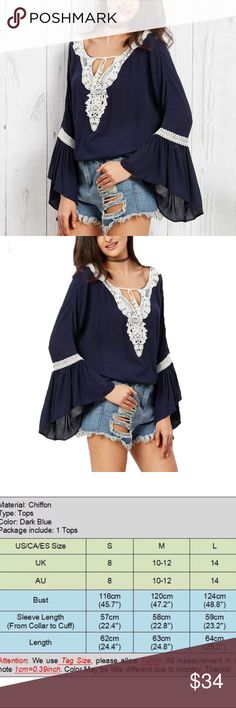 Boho Batwing Blouse Gorgeous Boho style Blouse with  deep V neck, elegant flare sleeves and hollow out Lace up. Boutique 9 Tops