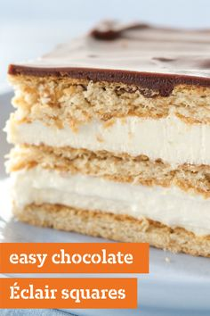 Easy Chocolate Éclair Squares – Super simple. Layers of vanilla pudding and COOL WHIP along with sweet graham crackers stack up to the most popular dessert dish recipe at the holiday party.