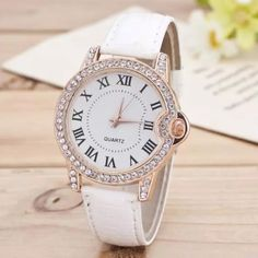 White & rose gold! Movement:Quartz   Materials: PU leather  Dial Diameter:3.8cm  Case Thickness: 0.8cm  Band Width:1.5cm  Band Length:24cm Accessories Watches