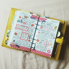 """""""Valentine's week of 2015 in my yellow Finsbury. Inserts are Piaric and border stickers are Cath Kidston  #filofax #projectlife #organiser #organizer…"""""""