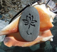Lotus Flower in bloom - engraved Beach Stone Pendant - Symbol of Peace and Pureness in Life necklace