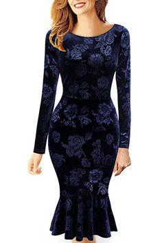Vintage O Neck Long Sleeves Embossed Design Dark Blue Mermaid Knee Length Dress