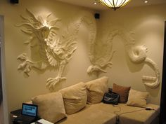 """"""" Дракон """" гипс. 2010 Автор: Родионов Антон Plaster Sculpture, Plaster Art, Plaster Walls, Wall Sculptures, Mural Art, Wall Murals, Wall Art Designs, Wall Design, Loft Design"""