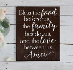 Bless the food before us sign wood sign Kitchen Wall Decor Wood Kitchen Sign