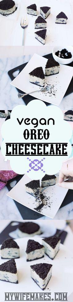 Delicious Vegan Oreo Cheesecake! Cashew based, easy to make and 100% Delicious!!! Yummmm!!! #vegan #veganfood #oreo #cheesecake