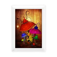 new at @CafePress : #Fairy #Forest Rectangular #Cocktail #Plate A little fairy flies before her #pumpkin house. The house stands in the forest and is surrounded by #colorful #mushrooms. A #squirrel sits on a tree and a #mouse stand under a mushroom.  $11.49