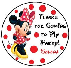 RED MINNIE MOUSE BIRTHDAY THANK YOU FOR COMING TO MY PARTY STICKERS FAVORS #Unbranded #BirthdayChild