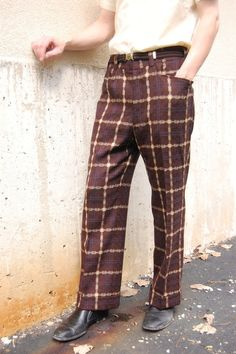1960s mens pants polyester brown window by FrocksnFrillsVintage, $60.00