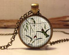 Hummingbirds necklace. Bird art pendant by Hadaskolcollection, $12.95