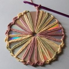 This is a short tutorial on how to crochet around an old CD. It's a great way to recycle them into either something useful and/or into a decorative item. You could make nice doily centerpieces for your potpourri dishes, candles, picture frames or anything of that sort. They might also look good in wall hangings and mobiles.