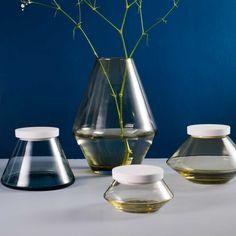VILJE VASE and VILJE JARS with porcelain lid.  By Nora Olafsdatter Krogh for Hadeland Glassverk and Porsgrunds Porselænsfabrik