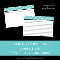 EDITABLE Printable Recipe Card  Chevron  4 x 6 by AllAboutTheHouse, $4.50