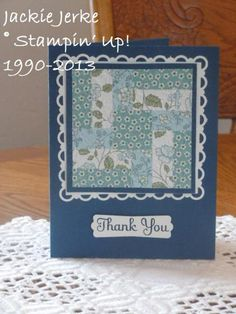 Stampin' Up! ... handmade quilt card: LOVE April Snow Days!! by JJ Rubberduck  ... prety blue patterned papers ....