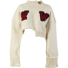 Embroidered Jumper (5,195 GTQ) ❤ liked on Polyvore featuring tops, sweaters, crop tops, white, white long sleeve sweater, white sweater, embroidered sweater, white crop top and cropped sweater