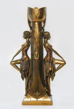 Art Deco Lady Dancer Statue Candle Holder
