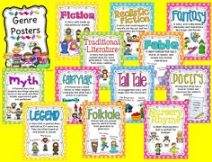Ginger Snaps: 24 Genre Posters are finished and a Free Genre BINGO game by angelia Reading Genre Posters, Reading Genres, Library Posters, Classroom Posters, Classroom Ideas, Classroom Organization, Education Posters, Classroom Charts, Texts