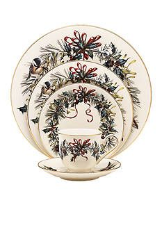 With bows and holly, mistletoe and chickadees, the festive Winter Greetings Collection from Lenox will bring holiday cheer to your table and your guests. Fine ivory china trimmed in gold, each magnificent piece captures the joy of the season. China Dinnerware Sets, Christmas Dinnerware, Square Dinnerware Set, Stoneware Dinnerware, Christmas China, Christmas Dishes, Christmas Tablescapes, Noel Christmas, Christmas Ideas