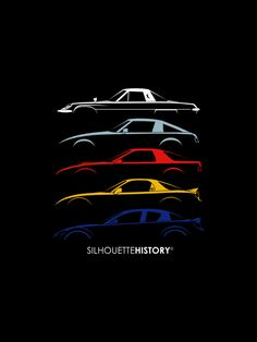 Rotary Sports Car SilhouetteHistory Silhouettes of Mazda's Wankel sports cars: Cosmo, three generations of RX-7 and RX-8.