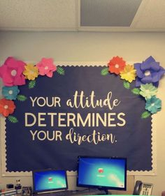 Your attitude determines your direction. Bulletin board ideas classroom quotes i Your attitude determines your direction. Bulletin board ideas classroom quotes inspirational flowers cute board class decor The post Your attitude determines y Office Bulletin Boards, Classroom Bulletin Boards, Future Classroom, School Classroom, Classroom Themes, Classroom Organization, Bulletin Board Ideas For Teachers, Classroom Door Quotes, Bulletin Board Sayings