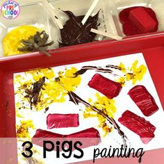 Three little pigs art! Favorite Fairy Tales activities for every center plus a shape crown freebie all designed for preschool, pre-k, and kindergarten 3 Little Pigs Activities, Fairy Tale Activities, Preschool Activities, Preschool Programs, Vocabulary Activities, Fairy Tale Crafts, Fairy Tale Theme, Rhyming Preschool, Preschool Crafts