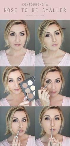 How to Contour/Highlight Nose, Contouring Hacks, Tips Nose makeup hacks contouring - Makeup Hacks Makeup Tips Contouring, Nose Contouring, Contour Makeup, Contouring And Highlighting, Beauty Makeup, Makeup Hacks, Makeup Ideas, How To Contour Nose, Makeup Tutorials