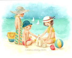 girl and boy with mum on the beach