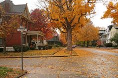 This is very reminiscent of the small Midwestern town I live in during Autumn. It's so pretty.