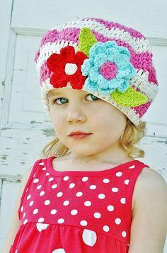 Girls Crochet Hat SlouchyBeret Bubblegum Pink by rubywebbs on Etsy, $36.00