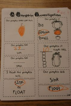 In this activity the kids will be looking at a pumpkin and doing a worksheet. The worksheet has questions like does a pumpkin float or sink. They will also count the seeds and be able to touch the inside of the pumpkin.