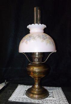 Aladdin Model No.11 Oil / Kerosene Brass Lamp w/Chimney, Tripod, & 550 Pink Painted Milk Glass Shade ~ 1922-28 ~ 11 Generator Oil LANTERN by EclecticJewells on Etsy