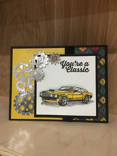 Stampin' Up! -Classic Garage Stampin' Up! Masculine Birthday Cards, Birthday Cards For Men, Handmade Birthday Cards, Man Birthday, Masculine Cards, Birthday Wishes, Car Card, Stampin Up, Boy Cards