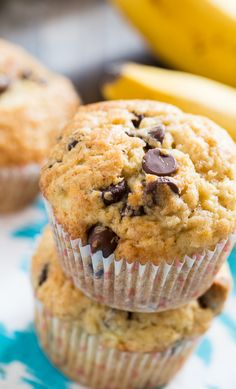 Banana Chocolate Chip Muffins- good without chips or with. And with blueberries. 30 minutes-perfect!!