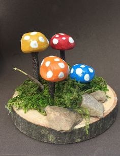 Excited to share this item from my shop: Miniature Mushrooms for Fairy Gardens, Hand Crafted and Painted Fairy Garden Houses, Gnome Garden, Garden Art, Herbs Garden, Fairy Gardening, Garden Ideas, Fairies Garden, Diy Fairy Door, Fairy Doors