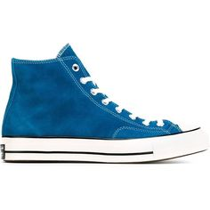 Converse Chuck Taylor All Star Hi-Top Sneakers (535 BRL) ❤ liked on Polyvore featuring shoes, sneakers, blue, converse trainers, high top shoes, blue suede sneakers, suede shoes and high top sneakers