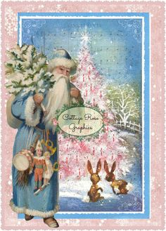Vintage Pink Christmas tree BLUE SWEDISH by CottageRoseGraphics