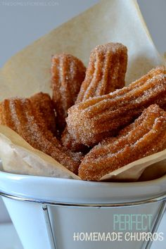 These Perfect & Easy Homemade Churros are light and crispy with soft, fluffy interiors and an amazing cinnamon sugar flavor! You won't believe how simple these are to make, too! Perfect for Mexican food night, Cinco de Mayo or parties! Homemade Churros Recipe, Easy Churros Recipe Baked, Baked Churros, Easy Homemade Desserts, Healthy Desserts, Mexican Food Recipes, Dessert Recipes, Party Desserts, Beignets