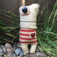 Plush monster rag doll stuffed monster primitive by SnailAndCicada