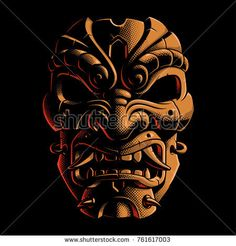 Mask of samurai. Vector illustration with halftone graphic effect. Isolated on dark background.
