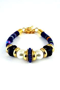 Beaded Casual Bracelet Gold Color Seed beads Pearl by VarietyLab