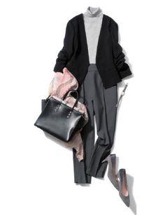 With a skirt. Modern Hijab Fashion, Suit Fashion, Minimal Fashion, Fashion Outfits, Office Fashion, Business Fashion, Work Fashion, Daily Fashion, Stylish Work Outfits