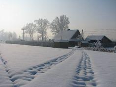 Droga przez Ogrody Kapias po mocnym opadzie śniegu.