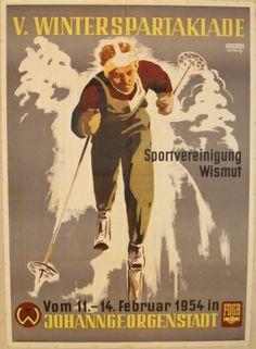 V Winter Spartakiade, 1954 - original vintage poster by Dewag Werbung listed on AntikBar.co.uk