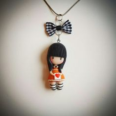 Polymer clay, Gorjuss doll necklace pendant. Follow me on facebook: https://m.facebook.com/profile.php?id=1441357136106288&_rdr