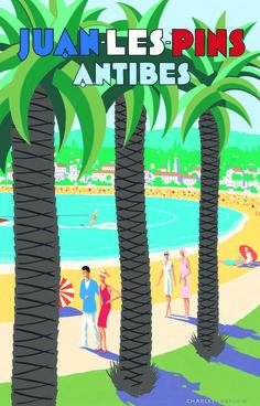 Juan-les-Pins – Antibes Vintage Beach Travel Poster  Affiches de Travel, Carteles