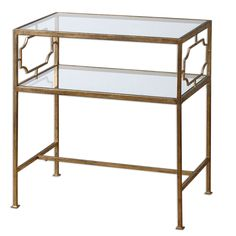 Genell Gold Leaf Side Table   Overstock.com Shopping - The Best Deals on Coffee, Sofa & End Tables