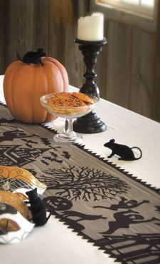 Spooky Hollow Halloween Lace Table Runner